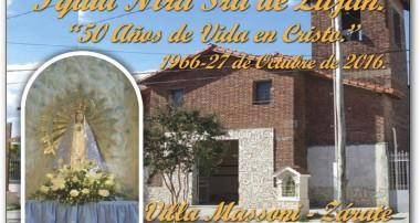 Jueves 27 de octubre: Festejos por el 50° Aniversario de la Pquia Ntra Sra de Luján en Zárate