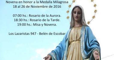 Fiesta de la Medalla Milagrosa: Novena preparatoria del 18 al 26 de noviembre en Escobar