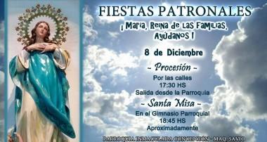 8 de diciembre: Fiesta de la Inmaculada Concepción en Maquinista Savio
