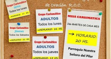 Horarios de verano de misa y grupos de la RCC, en Pilar
