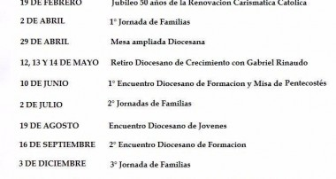 Cronograma 2017: actividades Renovación Carismática Católica