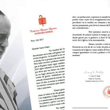 CARTA AL SANTO PADRE FRANCISCO CON OCASIÓN DE CELEBRAR LOS 25 AÑOS DE SU ORDENACIÓN EPISCOPAL.