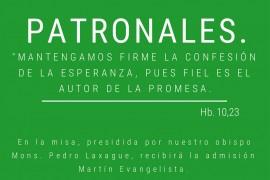 Domingo 2 de julio 16 hs: Patronales del Seminario diocesano  y Admisión a las Sagradas Ordenes Martin Evangelista