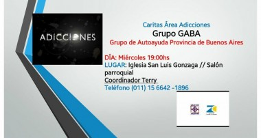 Cáritas Área Adicciones: Todos los miércoles Parroquia San Luis Gonzaga, Pilar