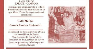 Sábado 2 de septiembre: Ordenación Diaconal Martin Gallo y Ramiro Garcia