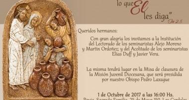 Domingo 1 de octubre 16 hs: Institución de Lectorado y Acolitado de nuestros seminaristas