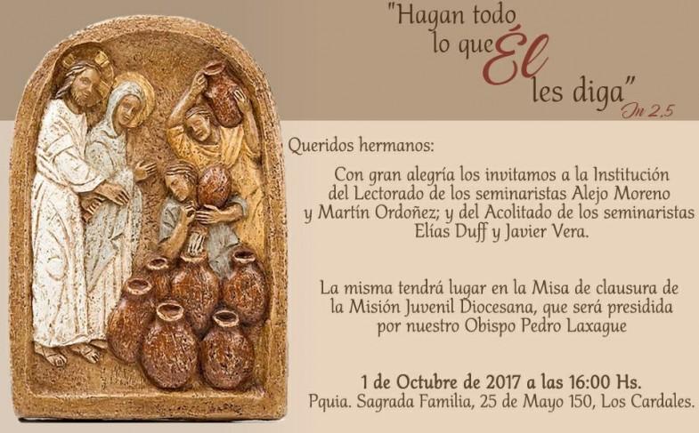 Domingo 1 de octubre 17 hs: Institución de Lectorado y Acolitado de nuestros seminaristas