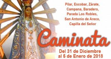 Caminata de la Virgen de Luján en nuestra diócesis del 31 de diciembre al 5 de enero 2018