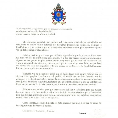 Carta del Papa Francisco a los argentinos