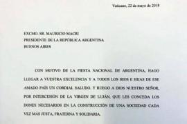 25 de mayo: Carta del Papa Francisco al Presidente de la Nación Argentina