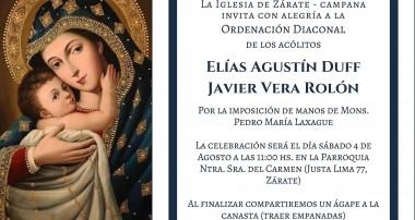 Sábado 4 de agosto: Ordenaciones Diaconales
