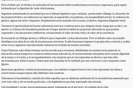 VALE TODA VIDA comunicado por proyecto despenalización del aborto en Cámara de Diputados