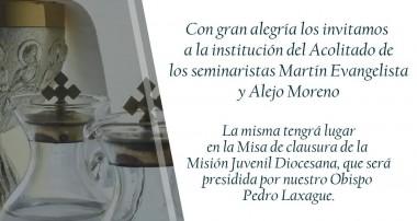Domingo 30 de septiembre: Institución Acolitado seminaristas