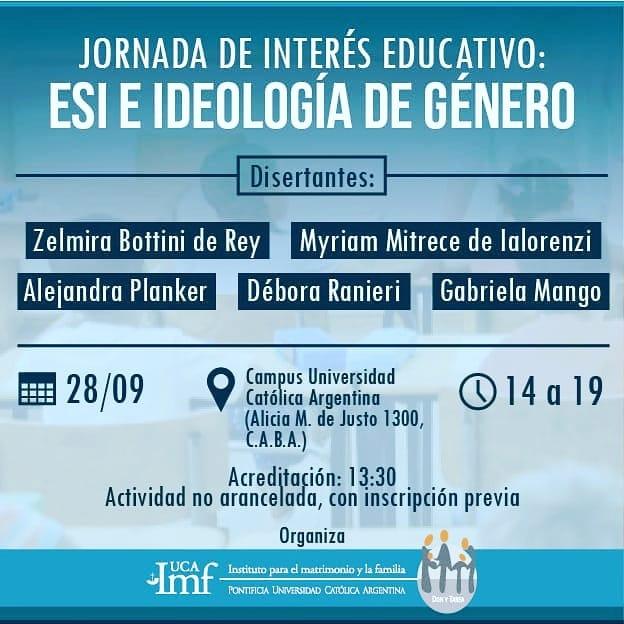 Jornada de interés educativo: ESI e ideología de género