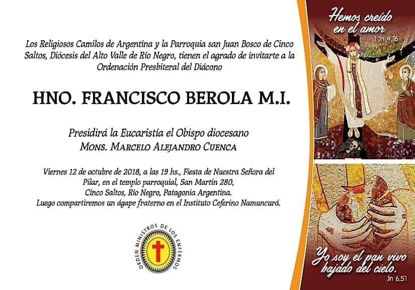 Ordenación Presbiteral del Diácono Francisco Berola – viernes 12 de octubre