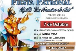 Fiesta Patronal en Capilla San Francisco de Asis – Parque Sakura. Domingo 7 octubre