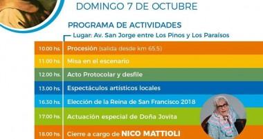 Domingo 7 de octubre: Patronales San Francisco de Asis en Pilar