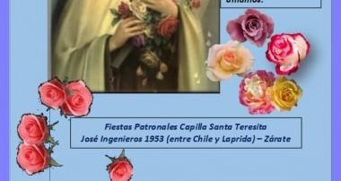 7 de octubre: Fiestas Patronales de la Capilla Santa Teresita en Zárate