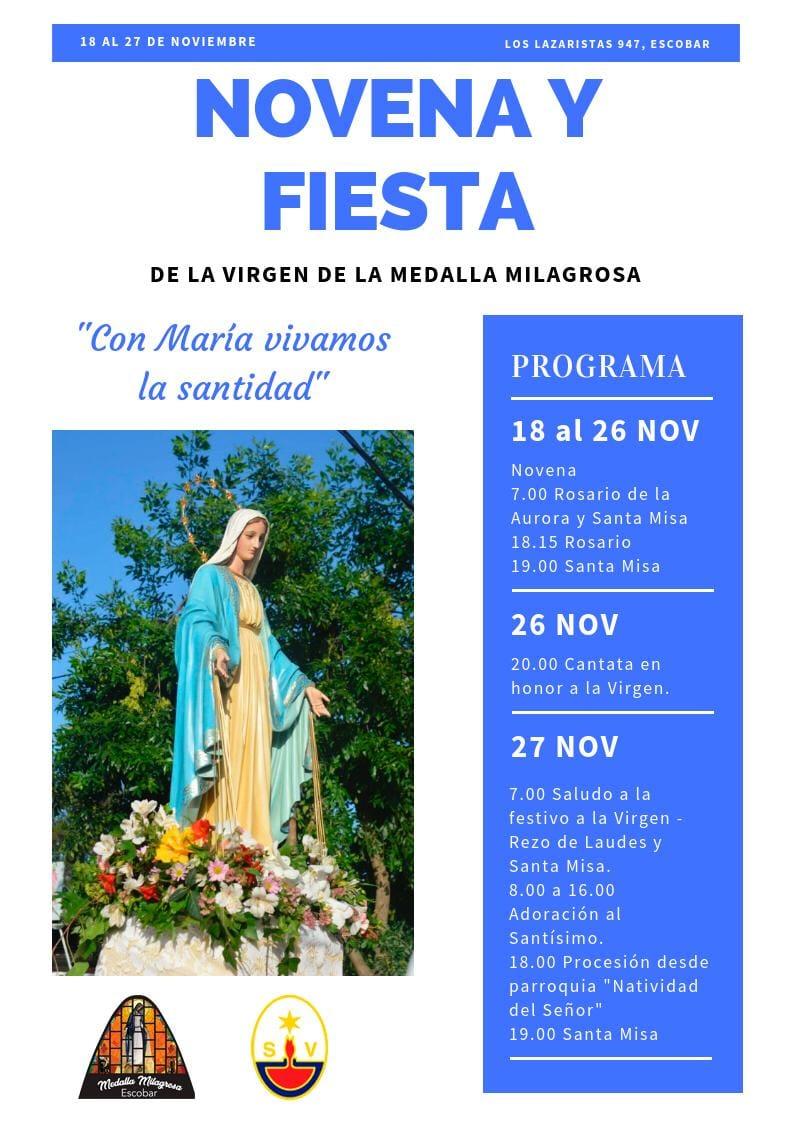 Novena y Fiesta de la Virgen de la Medalla Milagrosa en Escobar
