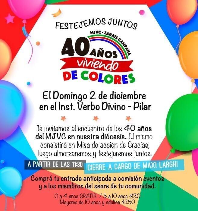 Festejo del 40 aniversario del Movimiento Jornada de Vida Cristiana