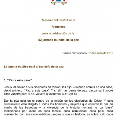 Mensaje del Santo Padre Francisco para la celebración de la 52° jornada mundial de la paz