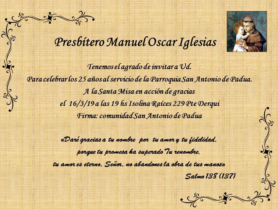 25° Aniversario Padre Oscar Iglesias en la comunidad de Derqui, Pilar