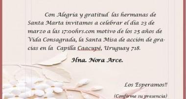 Celebración 25 años Vida Religiosa: Hermana Nora Arce – Pte Derqui, Pilar