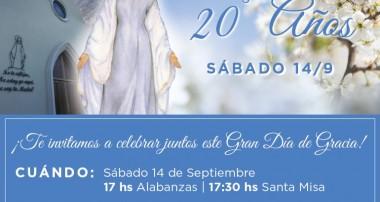 20 años Nuestra Señora del Cielo: Celebración en la Iglesia Sagrada Familia de Pilar