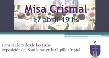 Miércoles 17 de abril 19 hs : Misa Crismal
