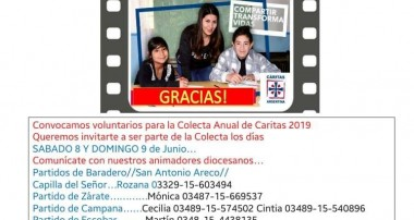Podés ser parte de la Colecta Anual de Caritas 8 y 9 de junio