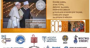 Sábado 8 de junio  13 hs: Un Minuto por la Paz