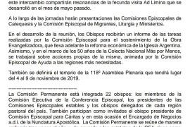 182º Reunión de Comisión Permanente de la Conferencia Episcopal Argentina