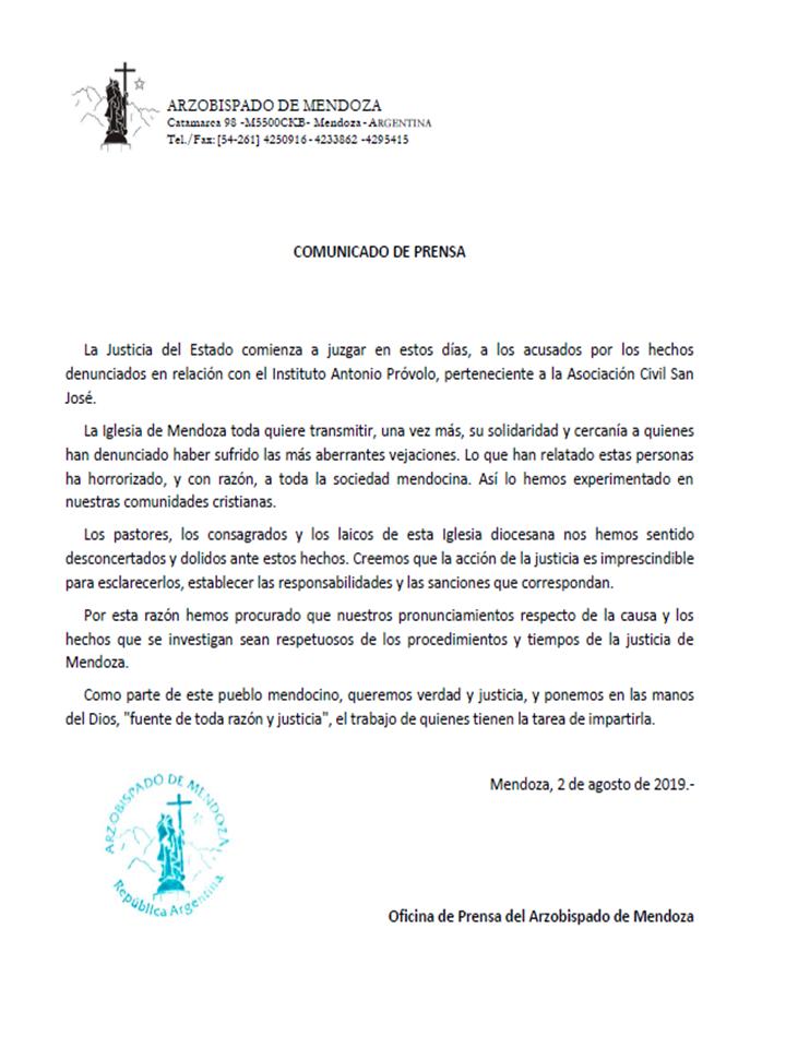 Comunicado del Arzobispado de Mendoza