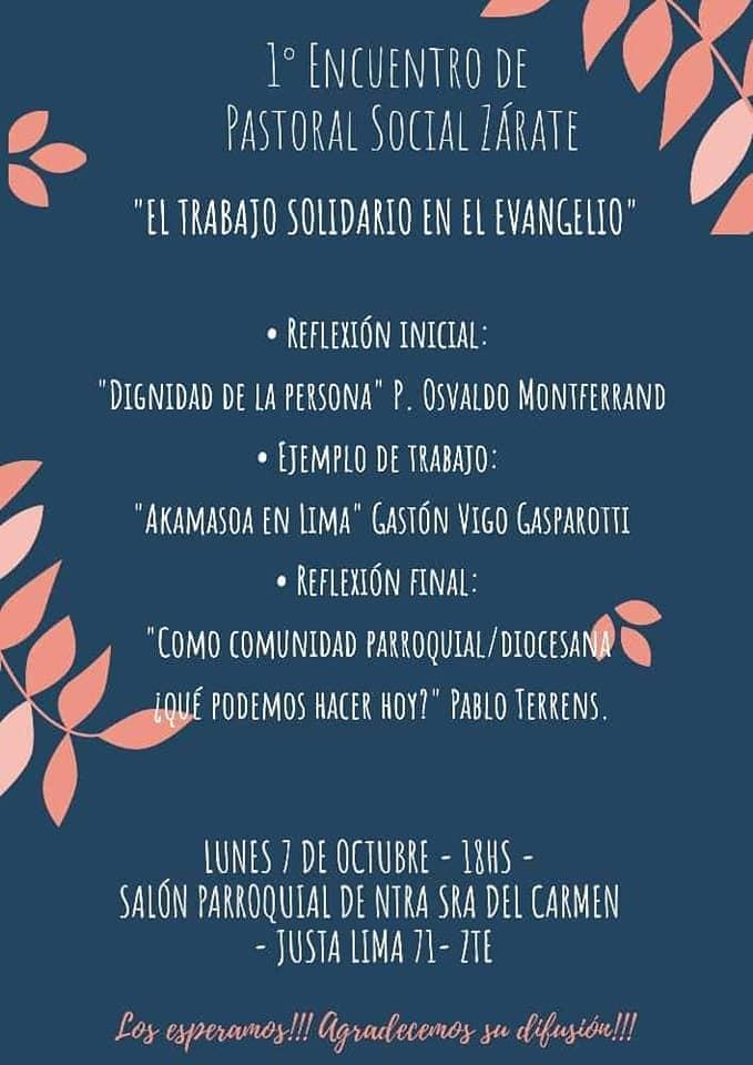 """Lunes 7 de octubre: """"El Trabajo Solidario en el Evangelio"""""""
